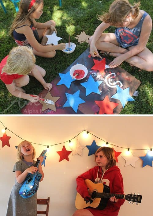 DIY Star Garland for Memorial Day by Brenda Ponnay for Alphamom.com