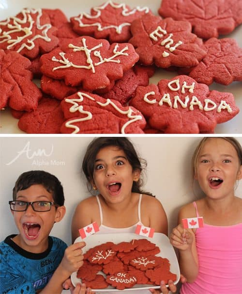 Red Maple Leaf Cookies on a Tray