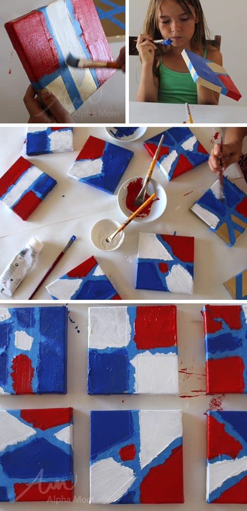 Child painting canvases with patriotic colors for 4th of July craft
