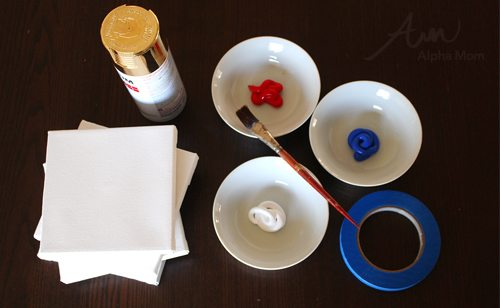 Geometric Patriotic Art supplies (paint in white bowls, tape, small square canvases)