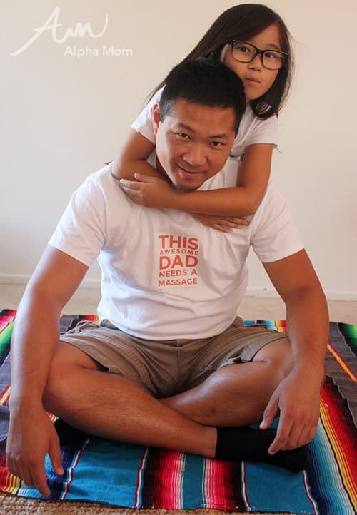 Back Massage T-Shirt for Father's Day by Brenda Ponnay for Alphamom.com