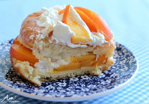 Homemade peaches and cream donut