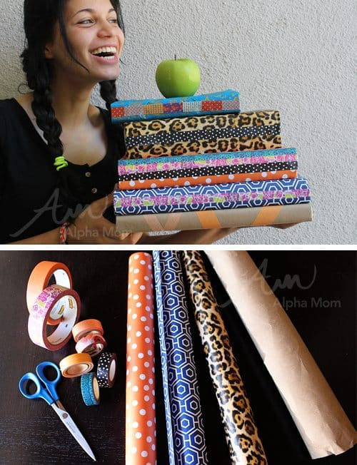 Washi Tape and Wrapping Paper Book Covers DIY (supplies) by Brenda Ponnay for Alphamom.com