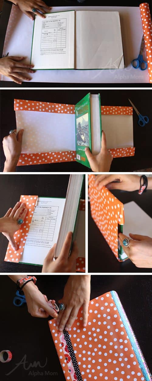 Homework Book Cover Ideas ~ Washi tape and wrapping paper book covers diy alpha mom