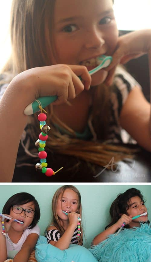 DIY Toothbrush Charms Tutorial at work by Brenda Ponnay for Alphamom.com