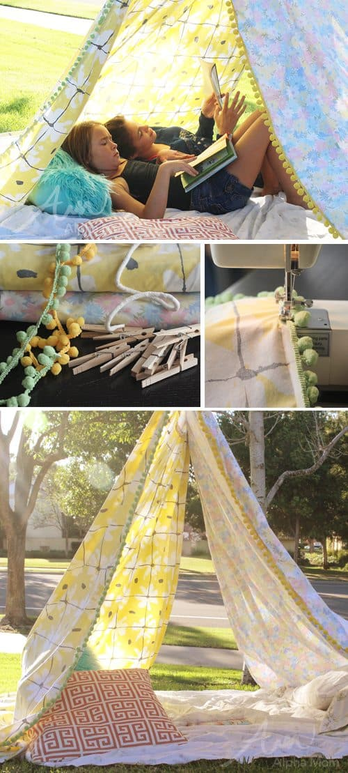 Super Simple DIY Reading Tent (directions) by Brenda Ponnay for Alphamom.com