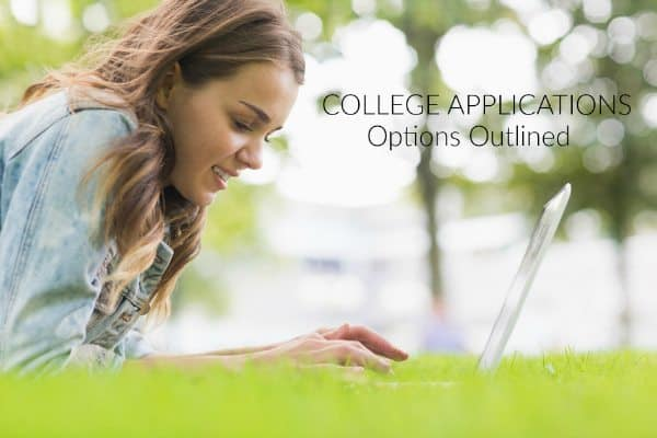 picture of teenage girl on lying down lawn on the computer with the words College Applications Options Outlined
