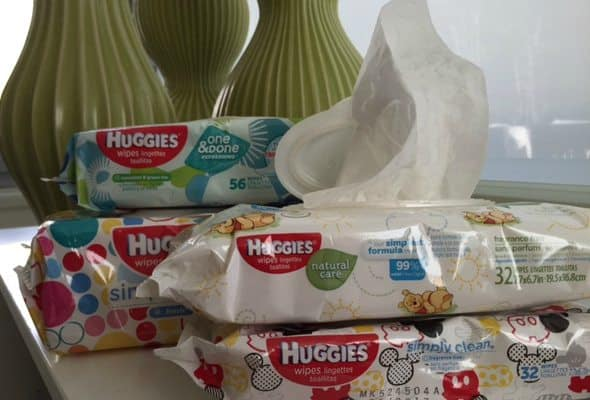 close-up photo of four packets of Huggies Baby Wipes