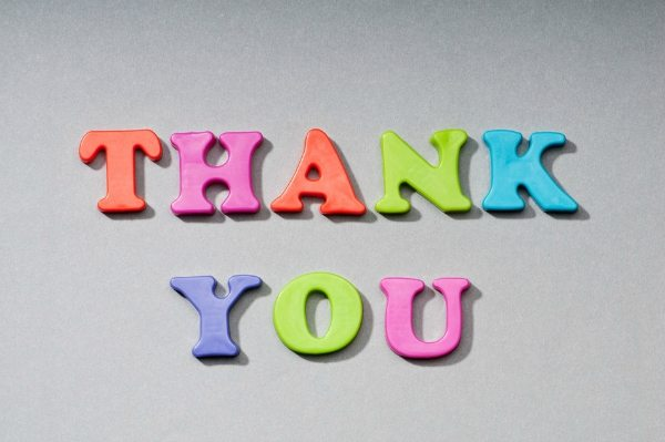 Thank You spelled out in colorful plastic letters