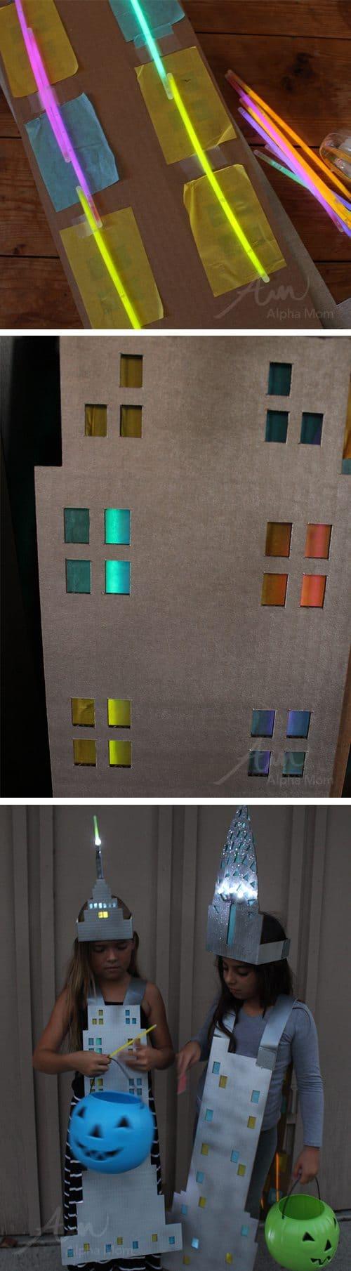 Chrysler Building Costume (adding glow stick tutorial) by Brenda Ponnay for Alphamom.com