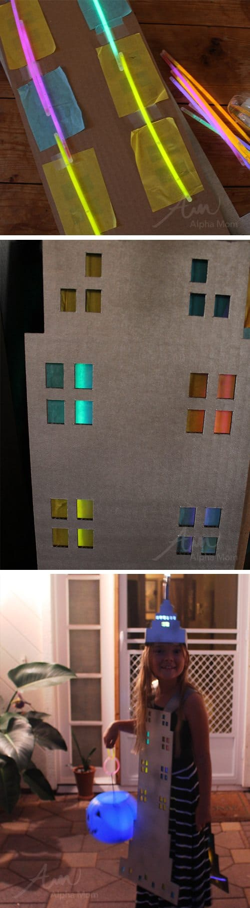 Empire State Building Halloween Costume (glow stick tutorial) by Brenda Ponnay at Alphamom.com