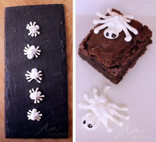 Meringue Ghost Spider Treats for Halloween (on brownie) by Brenda Ponnay for Alphamom.com
