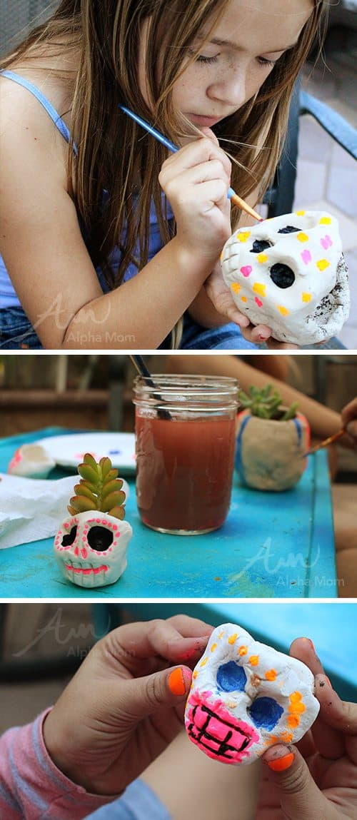DIY Skull Planters for Halloween (painting) by Brenda Ponnay for Alphamom.com