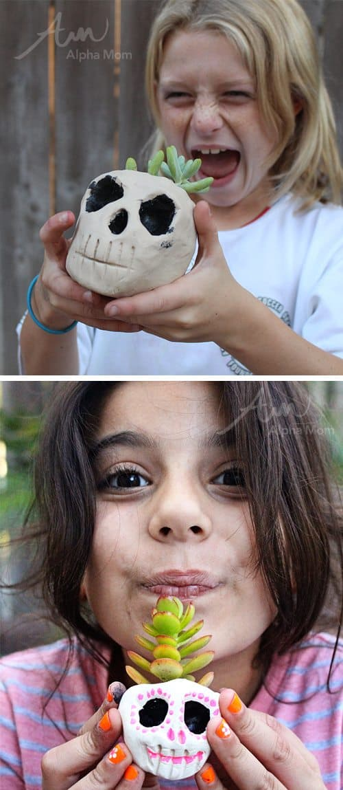 DIY Skull Planters for Halloween (Tutorial attached) by Brenda Ponnay for Alphamom.com