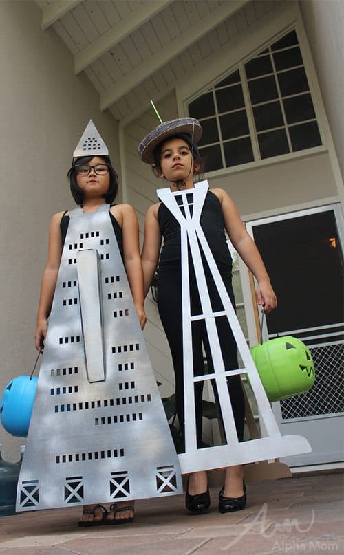 The Transamerica Pyramid and Space Needle (Famous U.S. Buildings Kids' Halloween Costume Series) by Brenda Ponnay for Alphamom.com