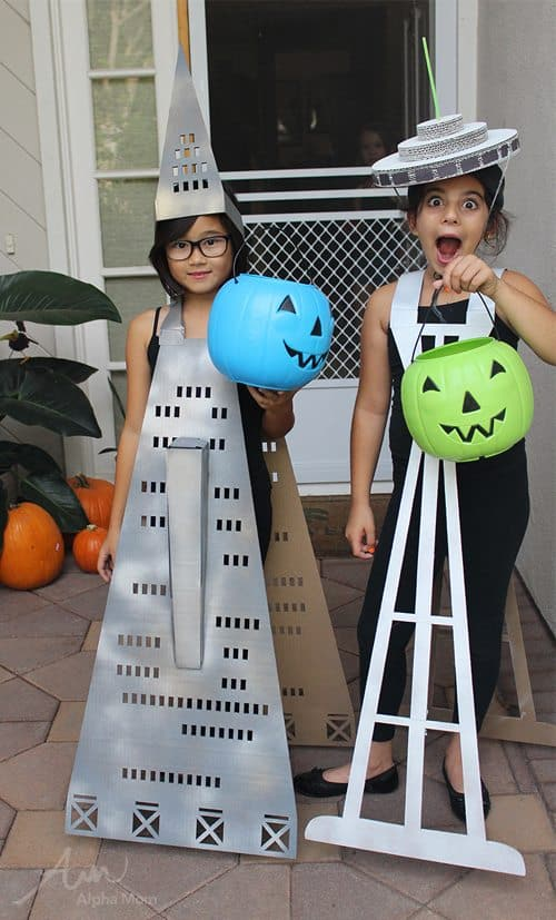 Transamerica Pyramid & Space Needle Buildings Kids Halloween Costumes by Brenda Ponnay for Alphamom.com
