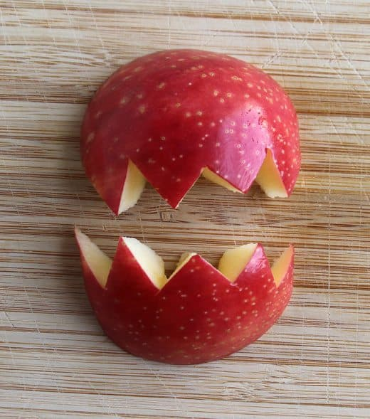 Apple Monsters Halloween Snack (how-to mouth) by Wendy Copley for Alphamom.com