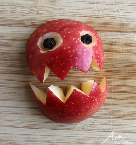 Apple Monster Snack for Halloween (how-to eyes 2) by Wendy Copley for Alphamom.com