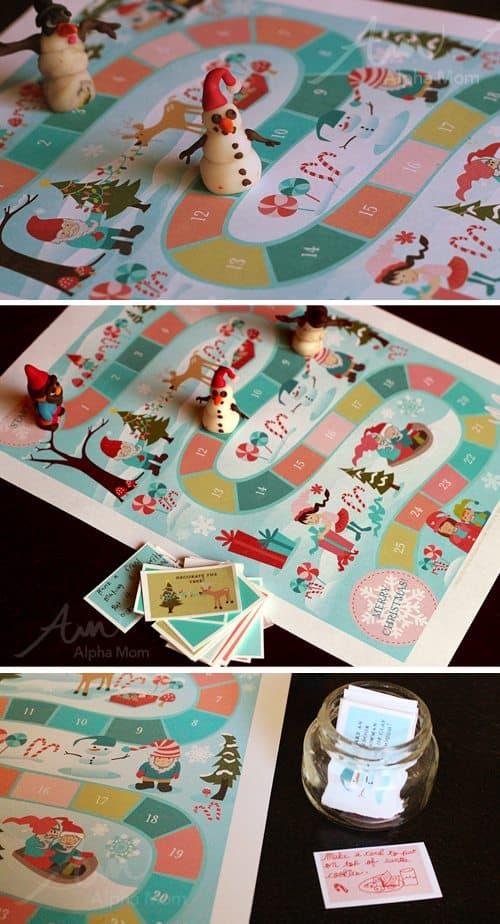 Advent Calendar Printable Game (board game play) by Brenda Ponnay for Alphamom.com