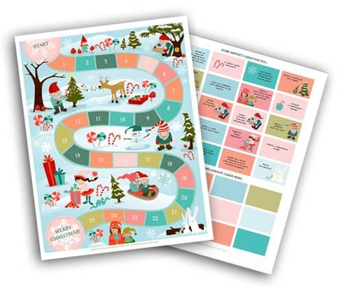 Advent calendar board game printables