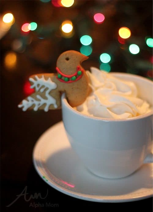 Gingerbread Cookie Birds (Perched on a Cup) for the Holidays! (cookie & whipped cream) by Brenda Ponnay for Alphamom.com