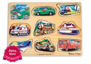 "Melissa & Doug Sounds Wooden Puzzles on Alpha Mom's ""Forever Hit Toys"" List for the Holidays. Babies and toddler love this toy!"