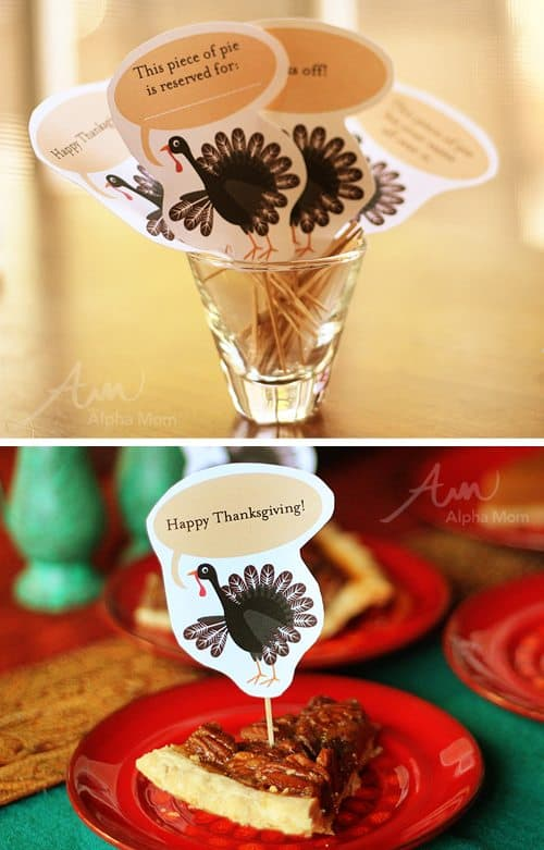 Thanksgiving Day Pie Topper Printable (pecan pie) by Brenda Ponnay for Alphamom.com