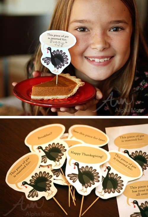 Thanksgiving Day Pie Topper Printable