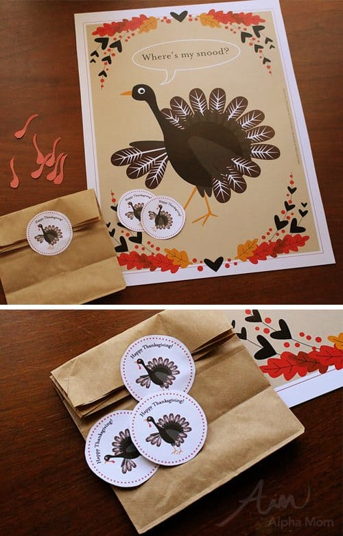 Stickers for Pin-the-Snood-on-the-Turkey Game