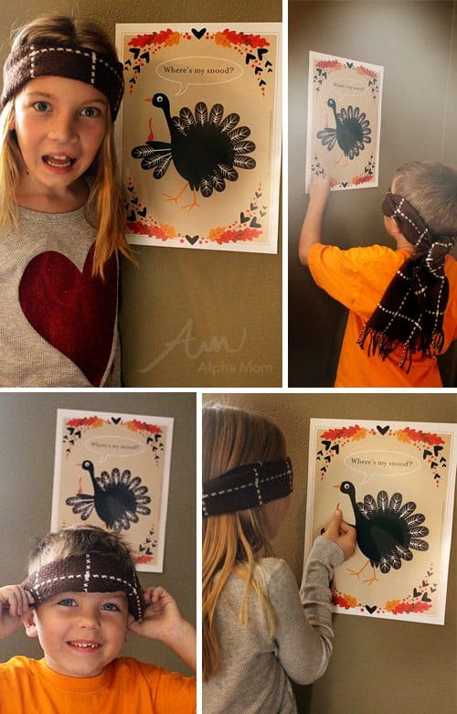 Pin-the-Snood-on-the-Turkey Game for Thanksgiving Day