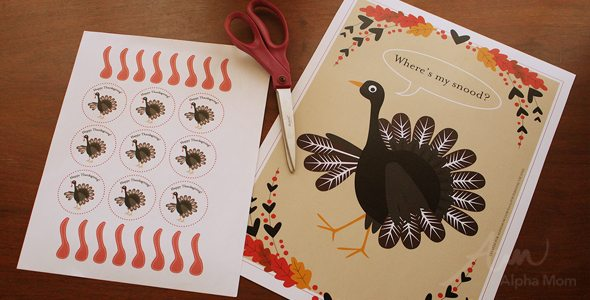 Pin-the-Snood-on-the-Turkey Game Printable for Thanksgiving Day