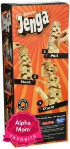 """Jenga: A fun family game that a wide range of ages can enjoy. On Alpha Mom's """"Forever"""" Hit Toys List (aka Toys with Staying Power)."""