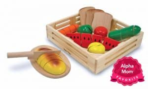 "Melissa & Doug Cutting Food Set: Imaginative play is great and M&D get lots of praise for their high quality food toy sets. On Alpha Mom's ""Forever"" Hit Toys List (aka Toys with Staying Power)."
