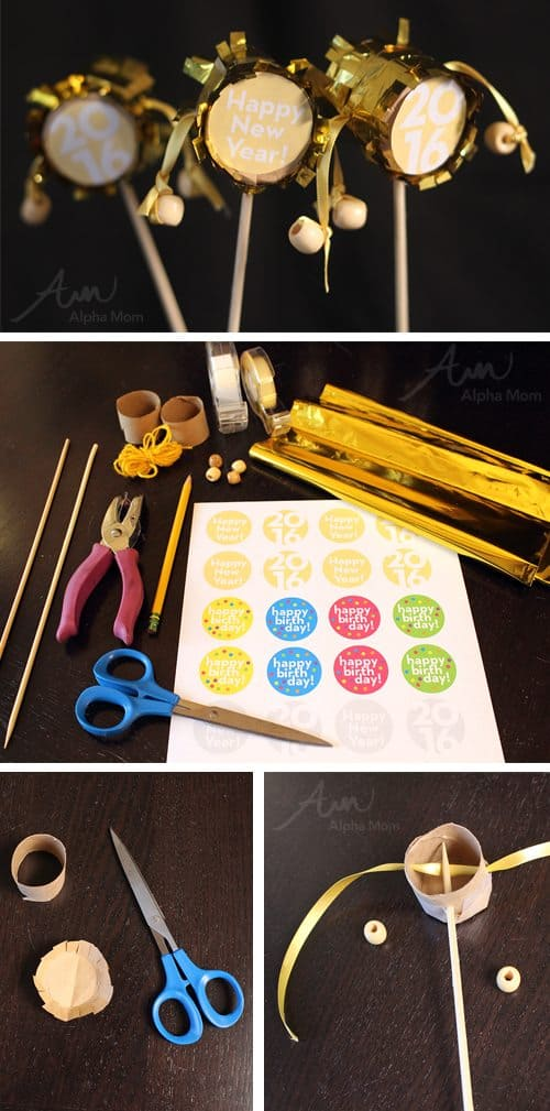 New Year Mini Rattle Drums (printable & tutorial) by Brenda Ponnay for Alphamom.com