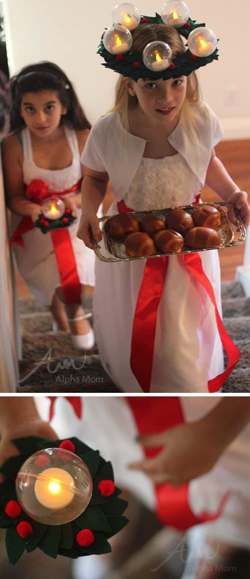 St. Lucia Day Craft: Bubble Candle Wreath by Brenda Ponnay for Alphamom.com (breakfast delivery)