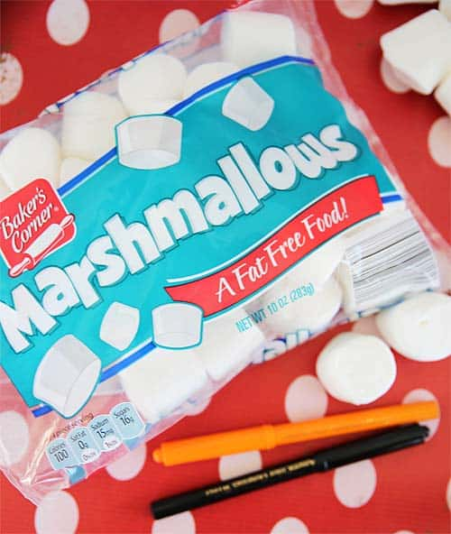 Bag of marshmallows with markers for making floating snowman marshmallows craft