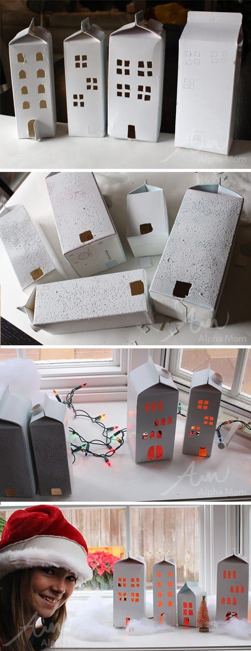Milk Carton Christmas Village (tutorial) by Brenda Ponnay for Alphamom.com