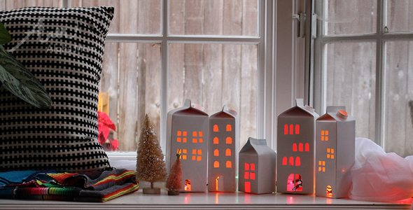 Milk Carton Christmas Village Craft