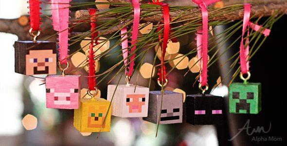 Minecraft Christmas Ornaments DIY by Brenda Ponnay for Alphamom.com