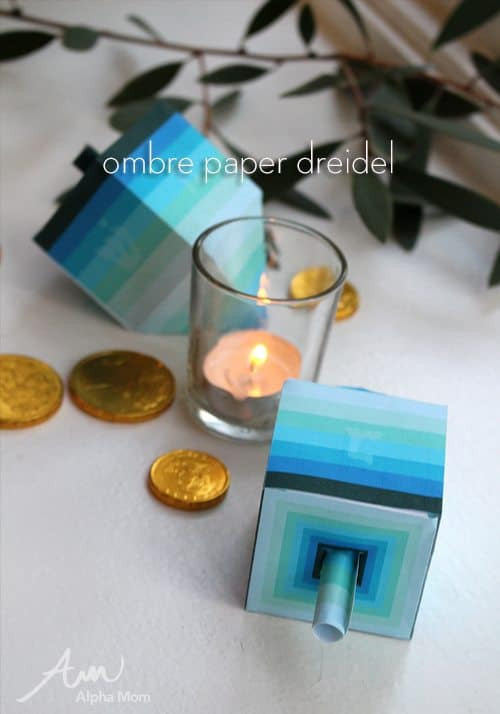Ombre Paper Dreidel Printable for Hanukkah by Brenda Ponnay for Alphamom.com