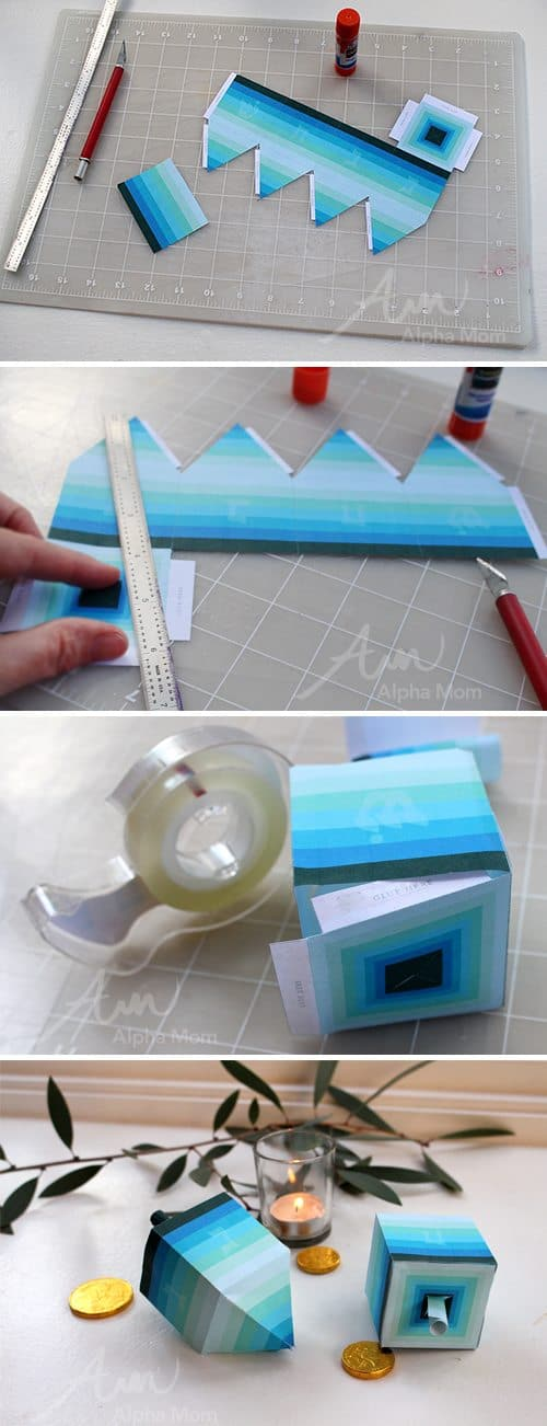 Hanukkah Craft: Ombre Paper Dreidel Printable (how-to) by Brenda Ponnay for Alphamom.com