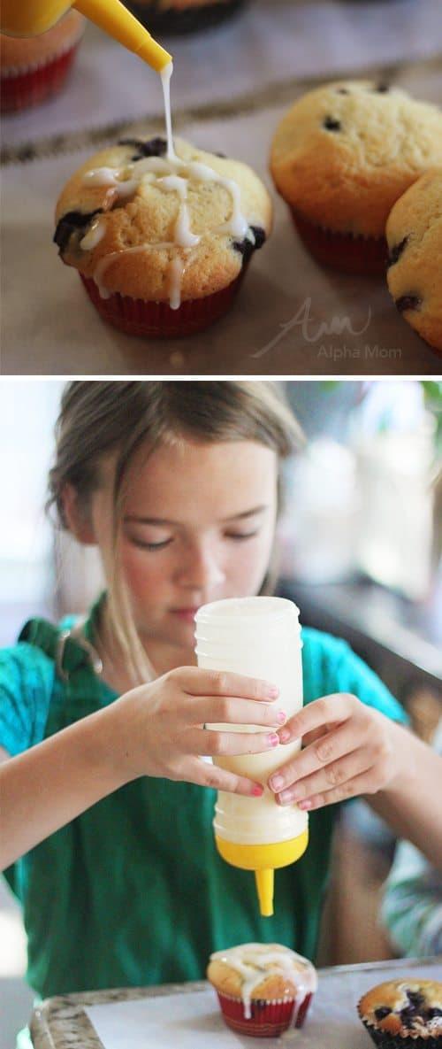 Greek Yogurt Blueberry Lemon Muffins Recipe (lemon glaze) by Brenda Ponnay for Alphamom.com