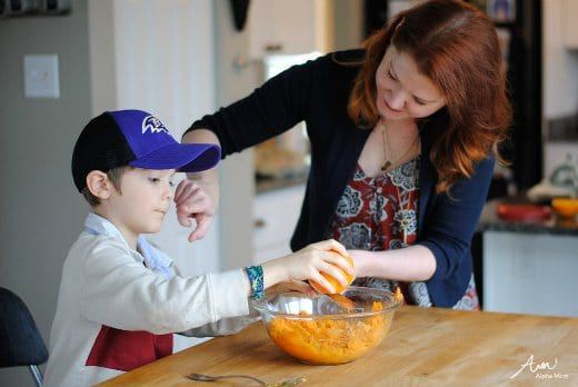 Citrus Sweet Potato Mash & Tater Tots Recipes for kids by Amalah for Alphamom.com