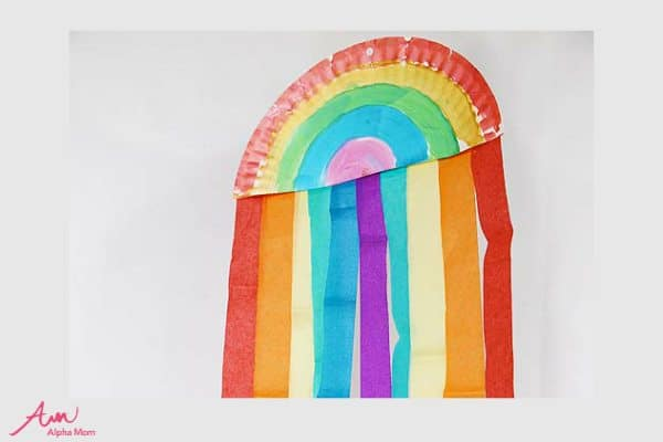 Hanging Rainbow Paper Plate Craft for St. Patrick's Day