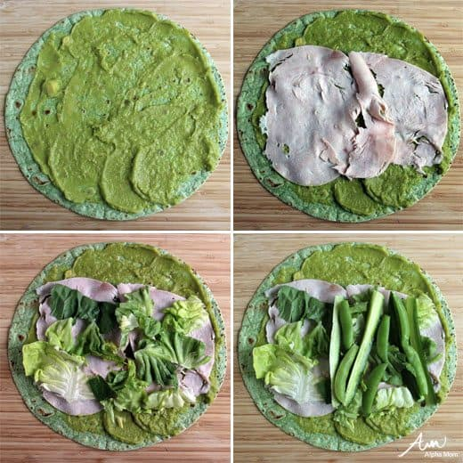 Green sandwich wraps for St. Patrick's Day