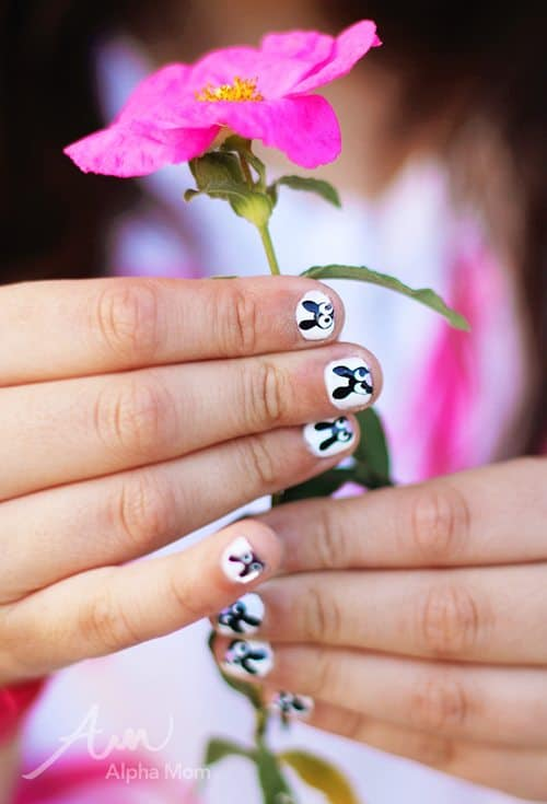 Bunny nail art on child's hand