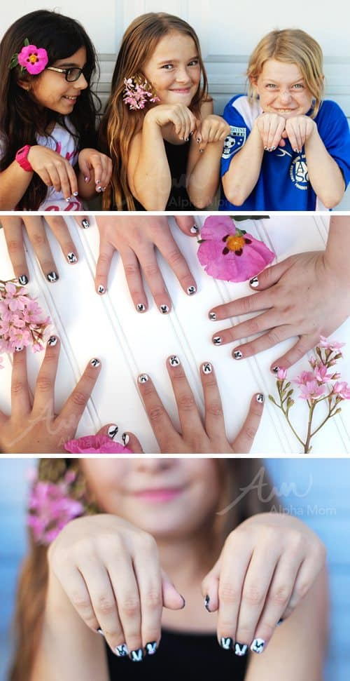 Girls showing off bunny nails