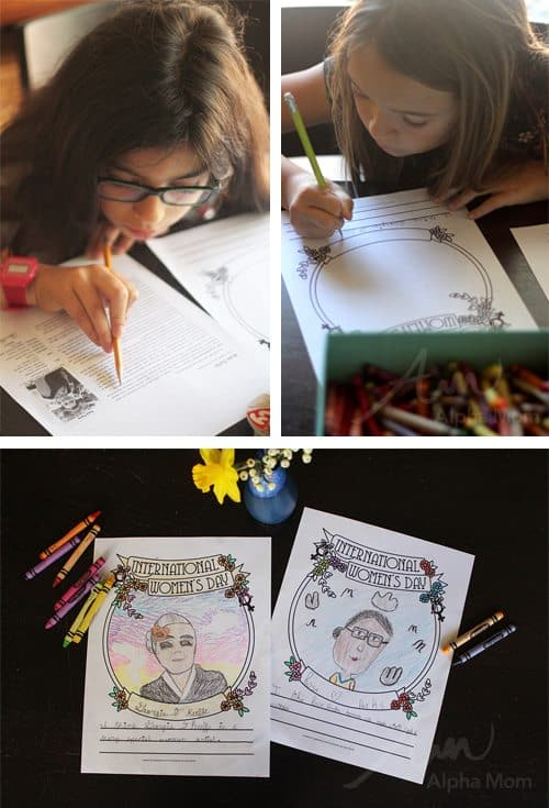 International Women's Day Craft: Famous Women Drawing & Coloring Activity (research sheet) by Brenda Ponnay for Alphamom.com
