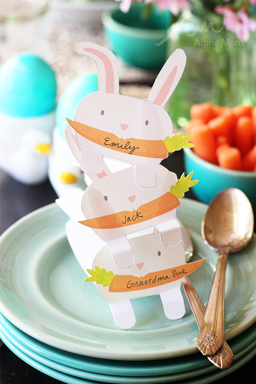 Bunny Name Cards printable for Easter Lunch or Dinner Celebration by Brenda Ponnay for Alphamom.com