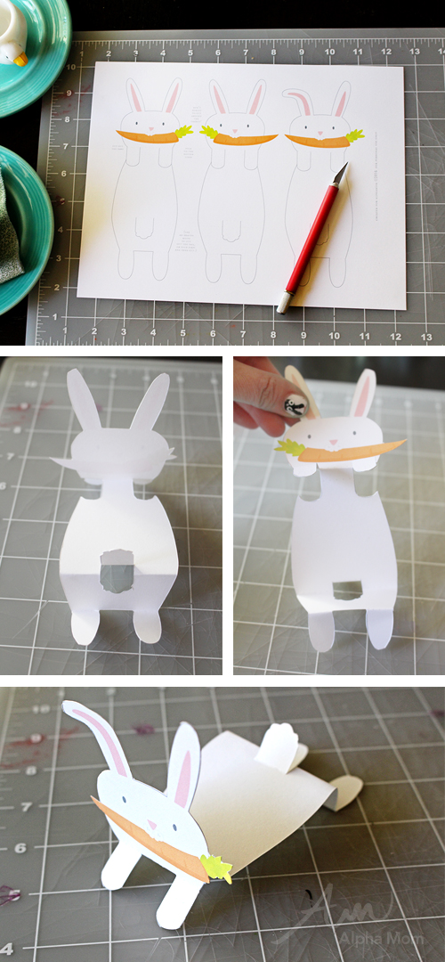 Bunny Name Cards printable for Easter Celebration (tutorial) by Brenda Ponnay for Alphamom.com